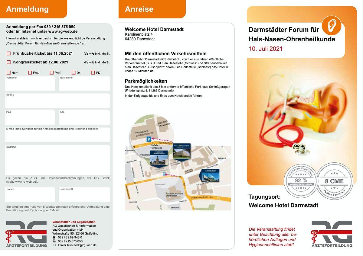 Ärztefortbildung: Darmstädter Forum für Hals-Nasen-Ohrenheilkunde 2021