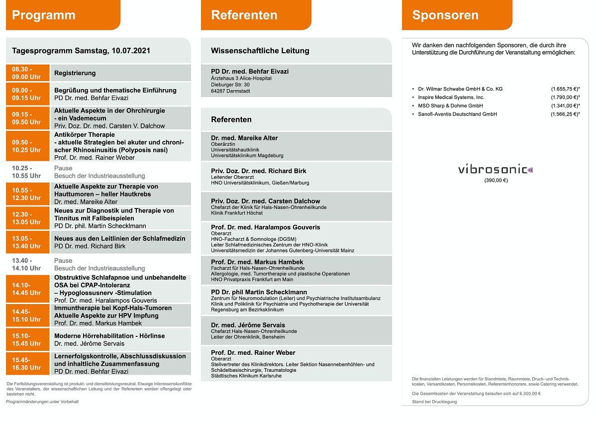 Programm Ärztefortbildung: Darmstädter Forum für Hals-Nasen-Ohrenheilkunde 2021